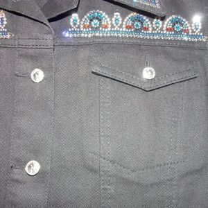 Vintage Jackets & Coats - Vintage Black Jean Vest Gem Studded Punk Large L